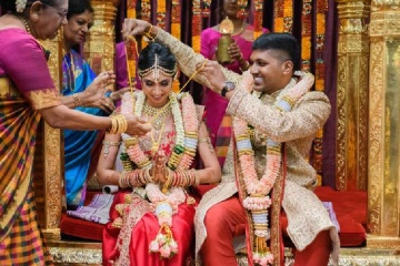 Beautiful Bride and Groom in Mugurtham Moment.